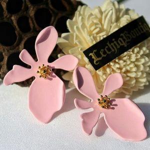 Pink Beautiful Korean Large Flower Stud Earrings